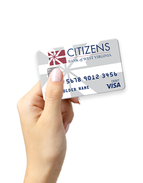 image of a hand holding a Citizens Bank debit card
