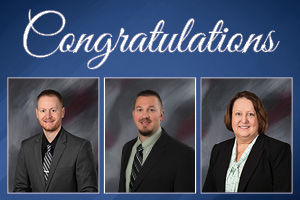Dustin Casto, Greg Harper and Stephanie Ward in Congratulatory photo for promotions.
