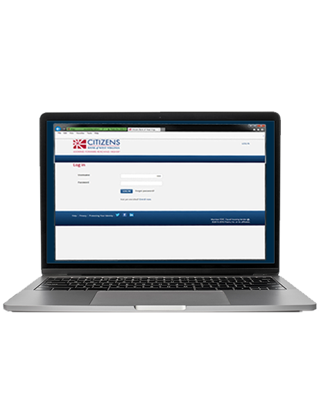 image of laptop with the citizens Bank online banking page open